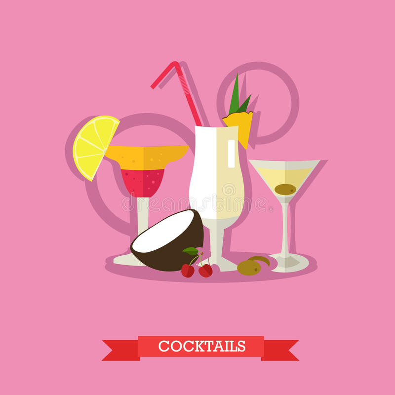 Trois cocktails alcooliques avec des fruits, conception plate illustration libre de droits