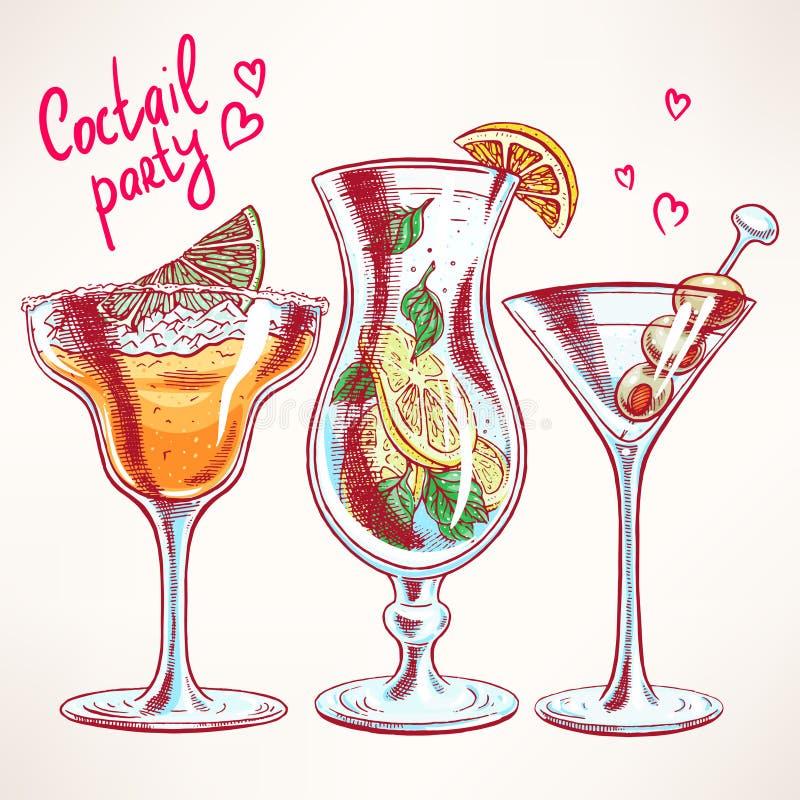 Trois cocktails différents illustration stock