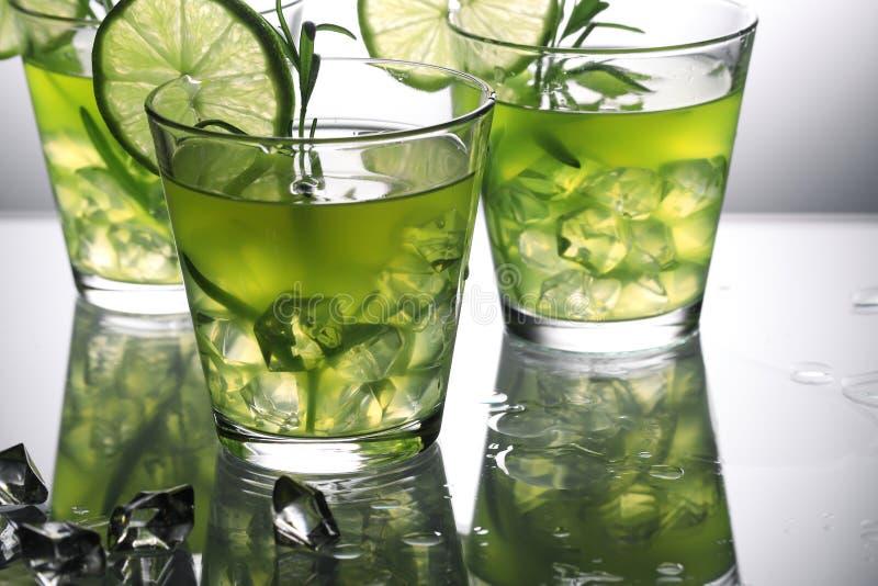 Trois cocktails verts avec la chaux et le romarin se tenant sur le verre dans le studio, fond gris photo libre de droits