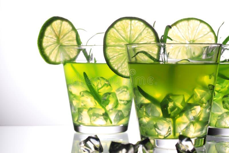Trois cocktails verts avec la chaux et le romarin se tenant sur le verre dans le studio, fond gris images libres de droits