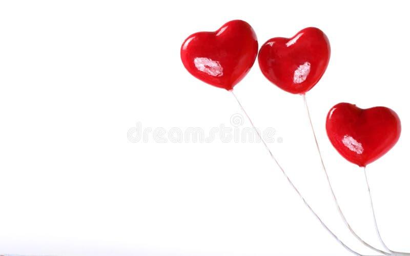 Trois coeurs en plastique photo libre de droits