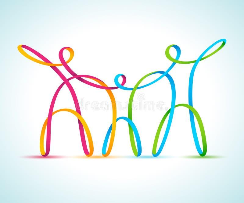 Trois colorés figure swirly tenir des mains illustration libre de droits
