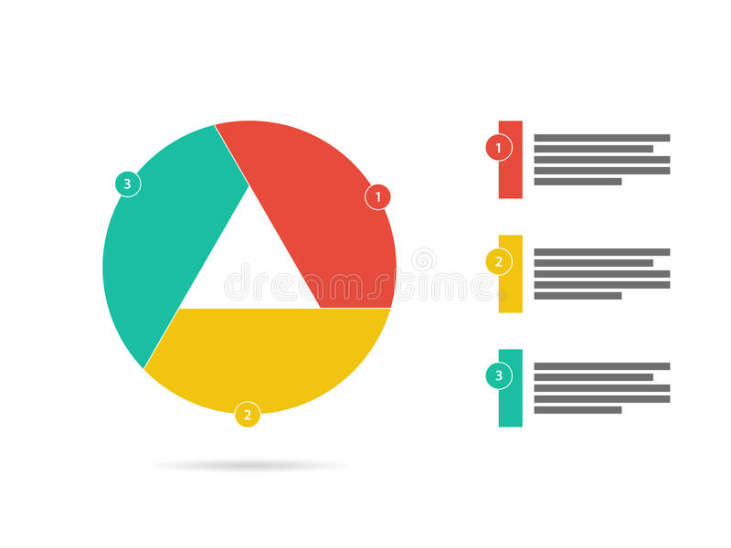 Trois colorés ont dégrossi vecteur infographic de diagramme de diagramme de volet de présentation plate de puzzle illustration libre de droits