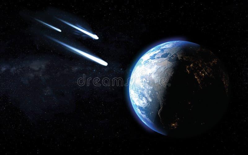 Trois comètes glaciales passant par ou clôturer trop l'impact sur terre de planète illustration stock