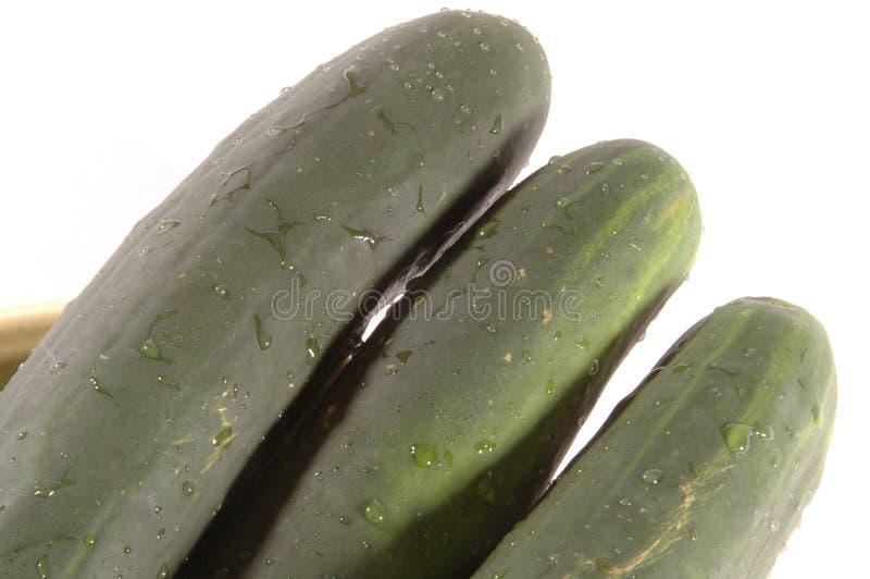 Trois concombres diagonaux image stock