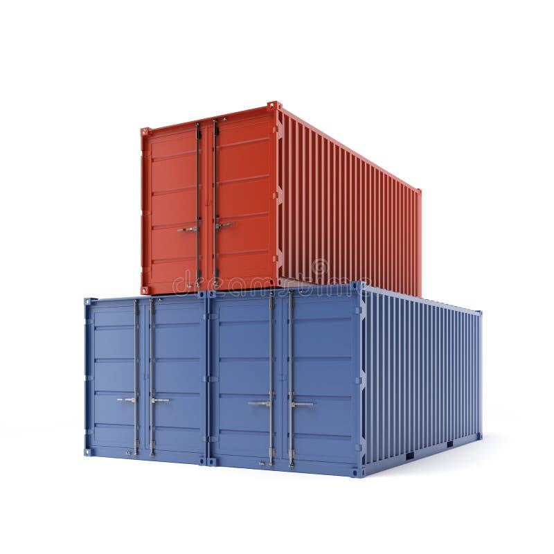 Trois conteneurs de marchandises illustration stock