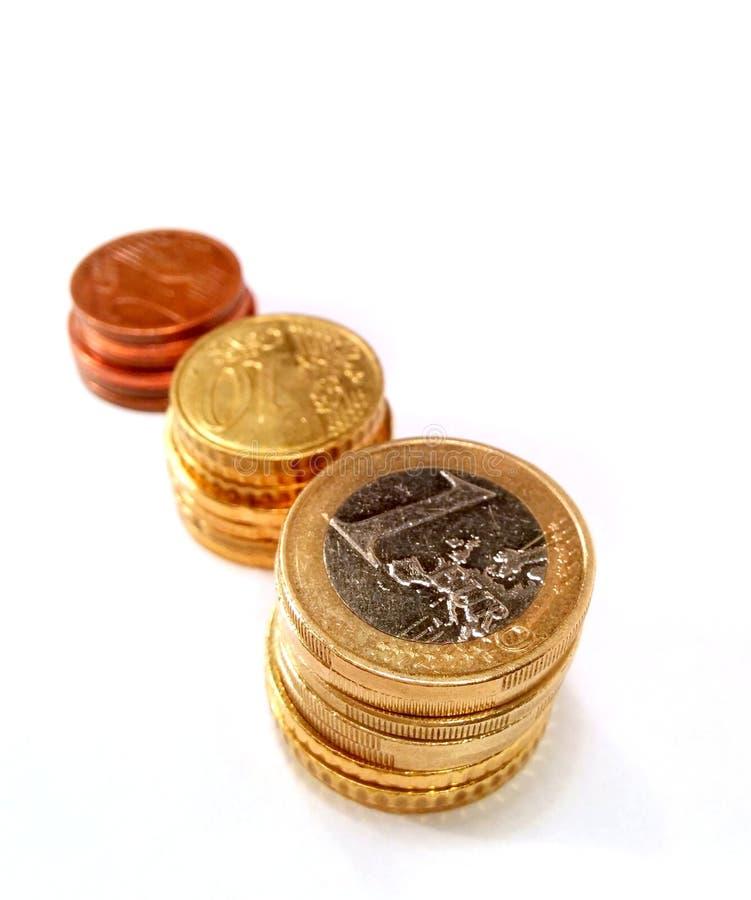 Trois coulmns stables des pièces de monnaie photographie stock libre de droits