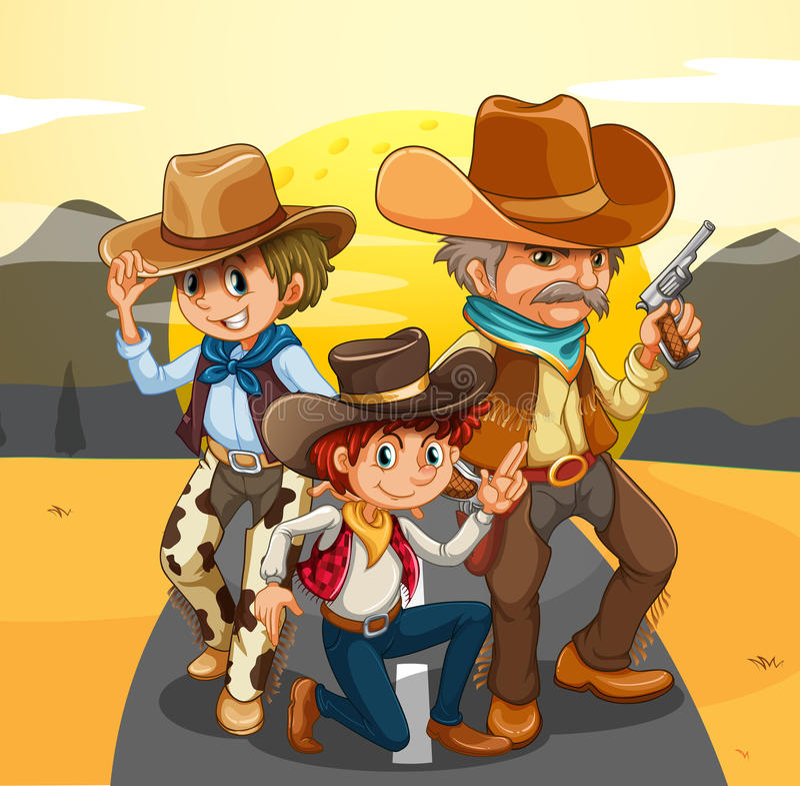 Trois cowboys à la route illustration libre de droits