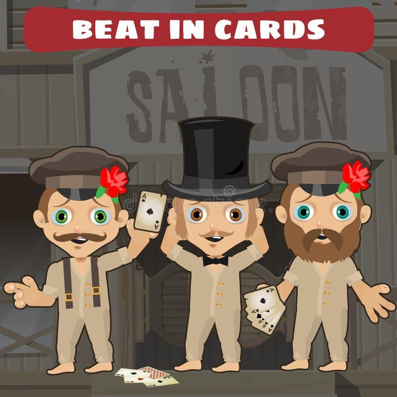 Trois cowboys dans la salle jouant des cartes illustration de vecteur