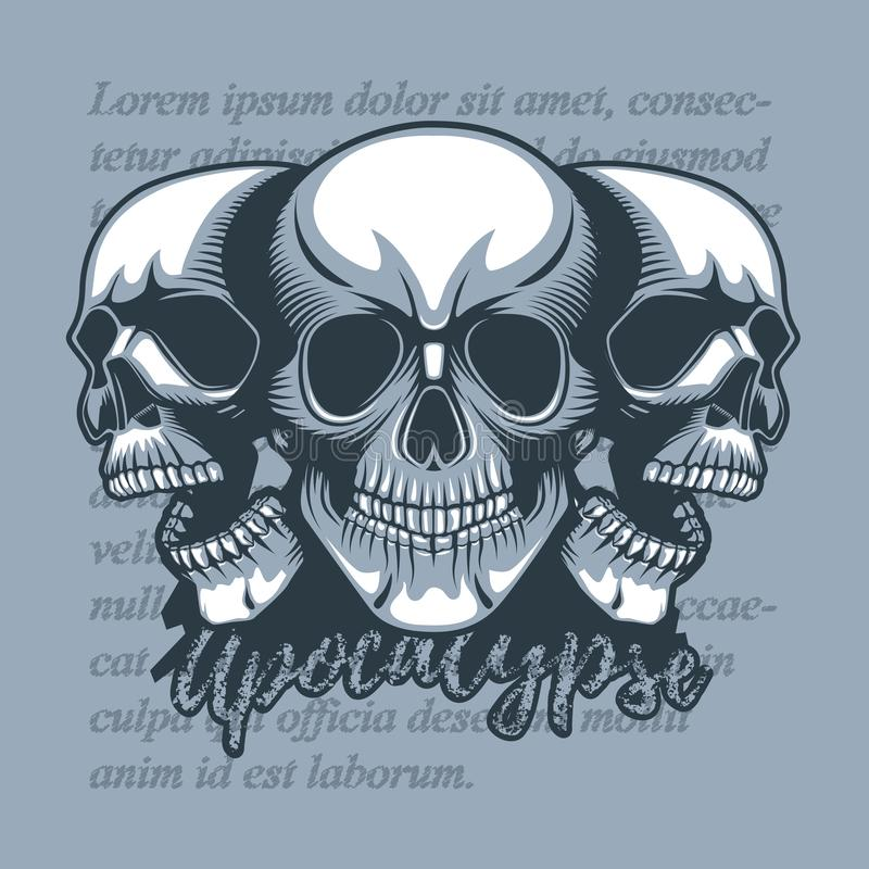 Trois crânes regardant dans différentes directions, sur un fond de cru et l'apocalypse de mots illustration de vecteur