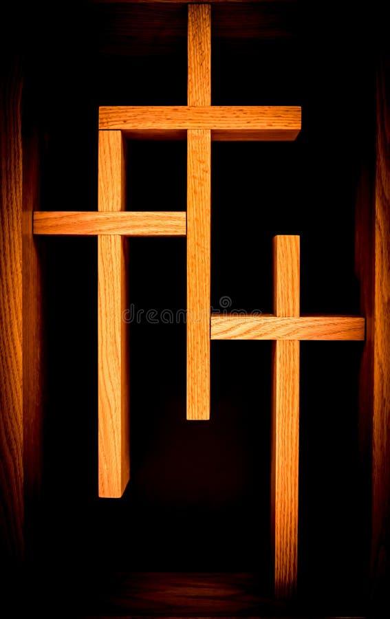 Trois croix chrétiennes photos libres de droits