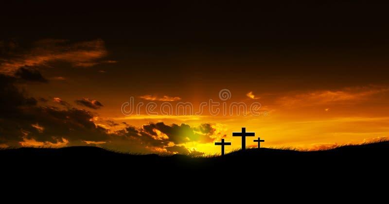 Trois croix chrétiennes photo stock