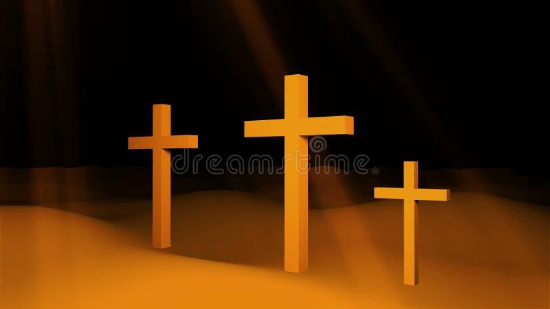 Trois croix chrétiennes sont sur la terre et les rayons du soleil, l'art conceptuel de Pâques de résurrection, 3d rendent illustration libre de droits