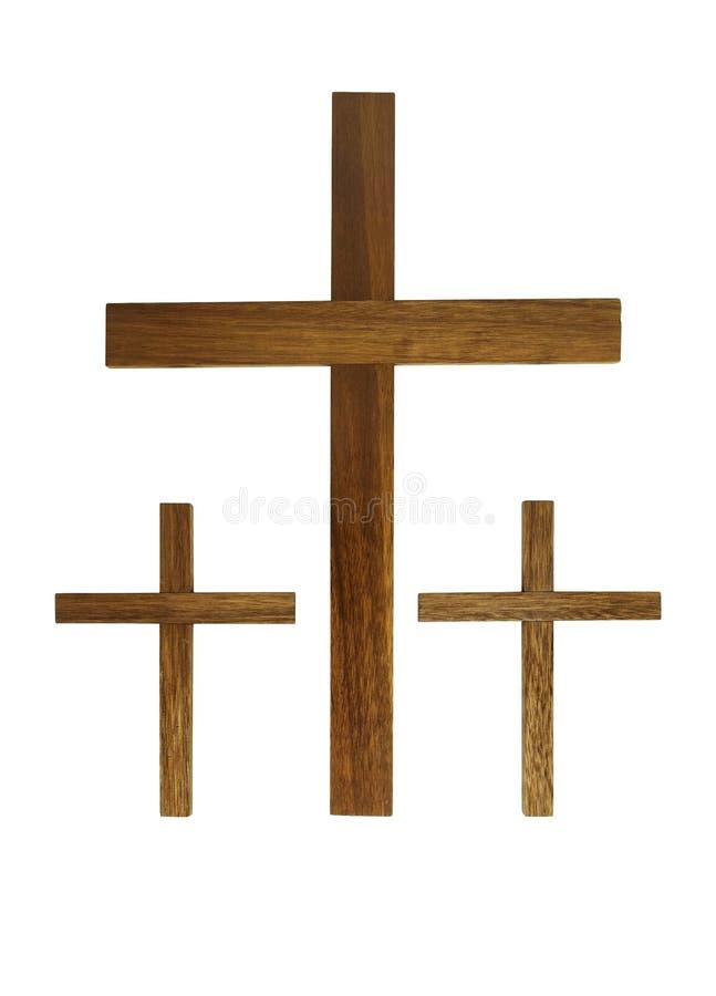 Trois croix en bois photos stock
