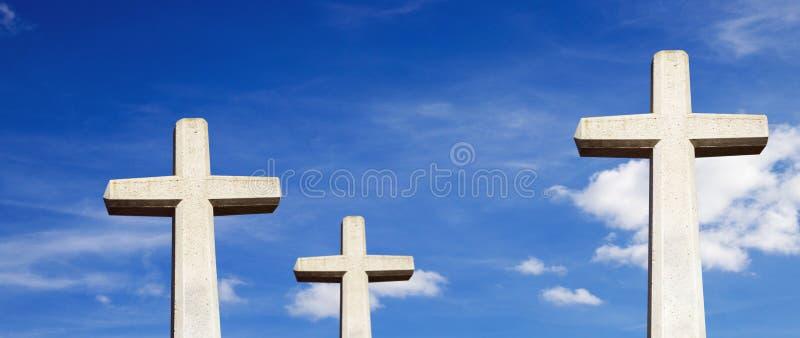Trois croix en pierre image libre de droits