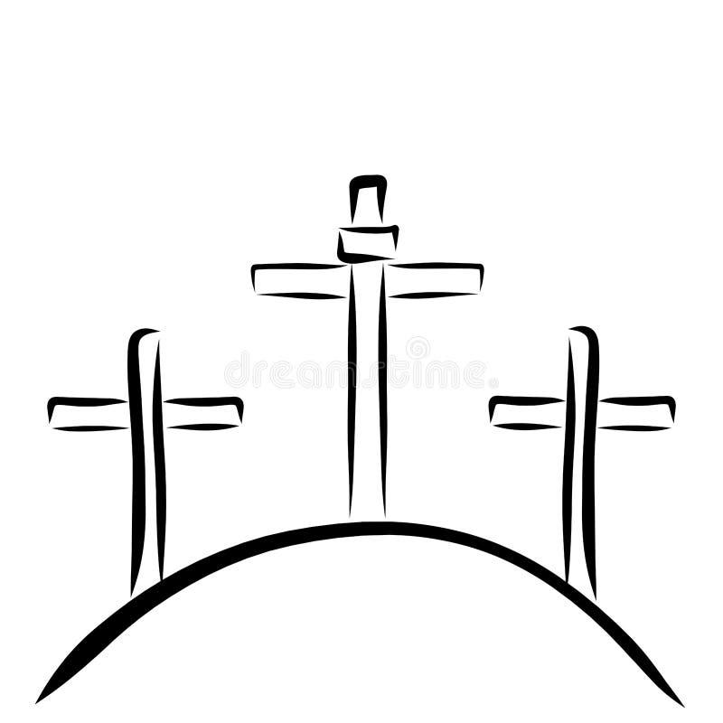 Trois croix sur la colline, Golgotha, symboles chrétiens illustration libre de droits