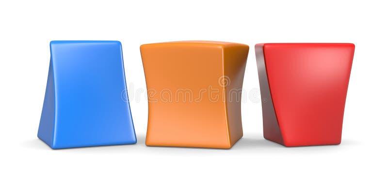 Trois cubes drôles vides colorés illustration stock