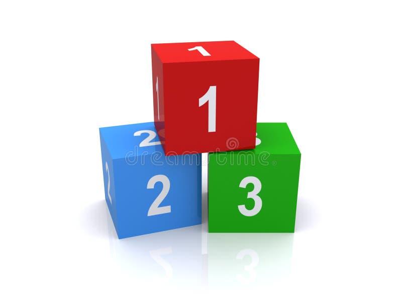 Trois cubes ou blocs illustration stock