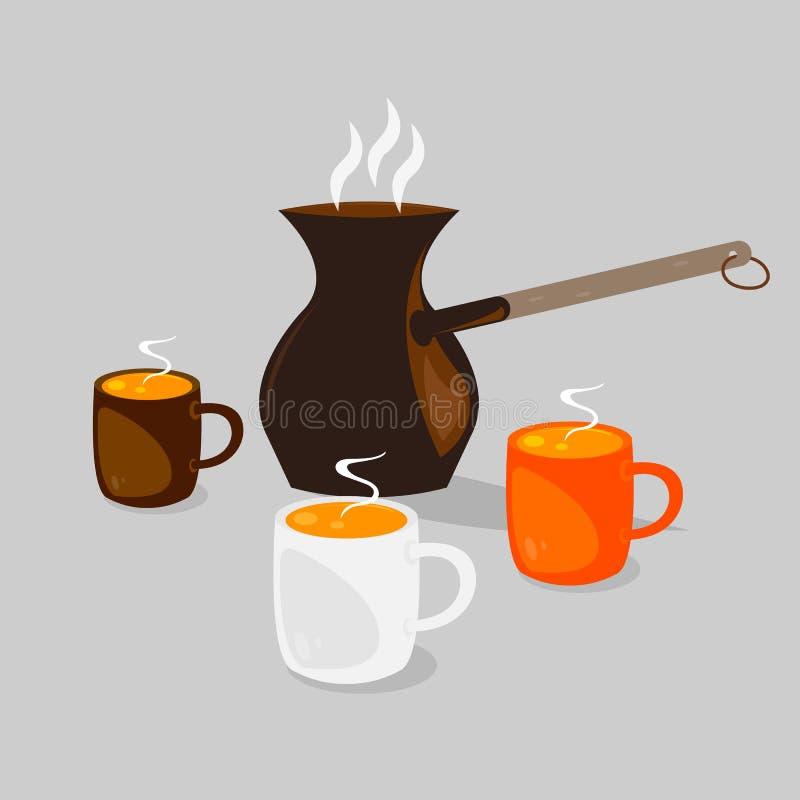 Trois cuvettes de café illustration libre de droits