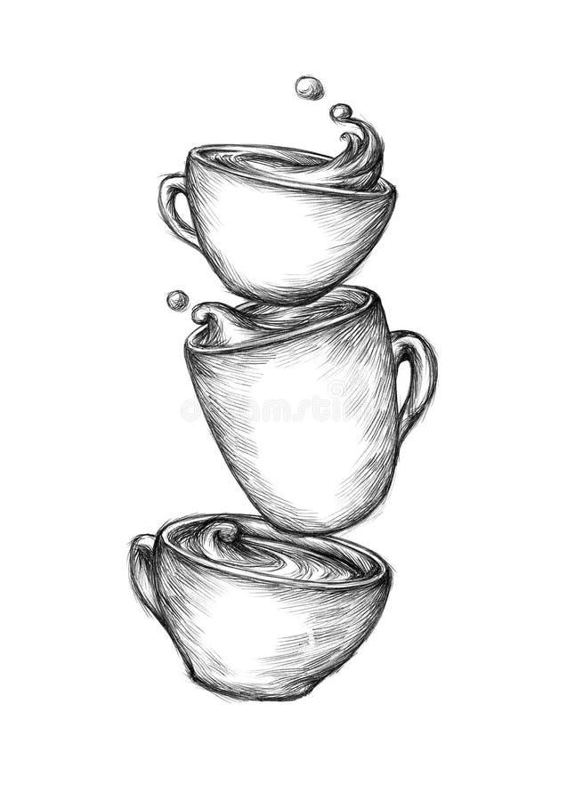 Trois cuvettes de café illustration de vecteur