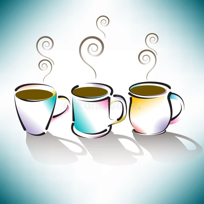 Trois cuvettes de café colorées illustration de vecteur