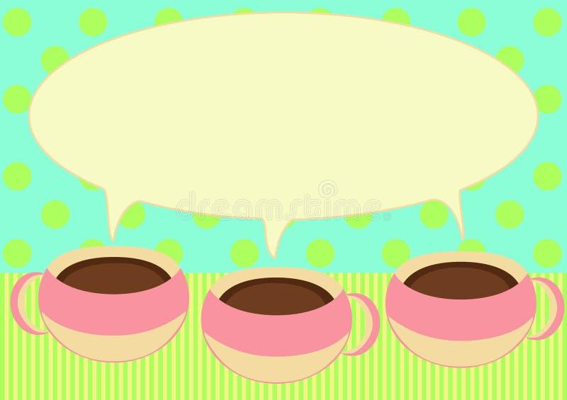 Trois cuvettes de café parlant la carte d'invitation illustration de vecteur
