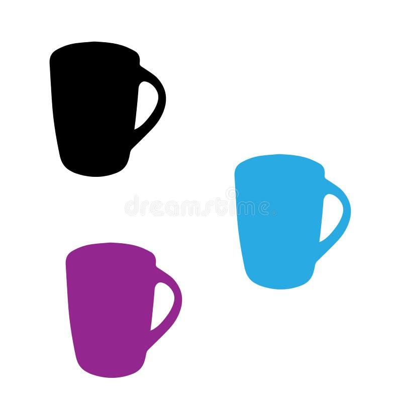Trois cuvettes Tasses roses, bleues et noires illustration libre de droits