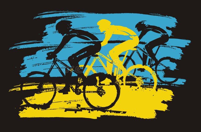 Trois cyclistes, emballant, expressif stylis illustration libre de droits