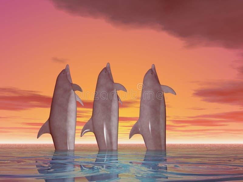 Trois dauphins de danse illustration stock