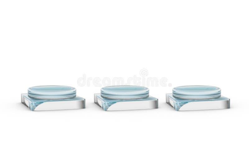 Trois de supports en verre pour l'affichage de produits illustration de vecteur