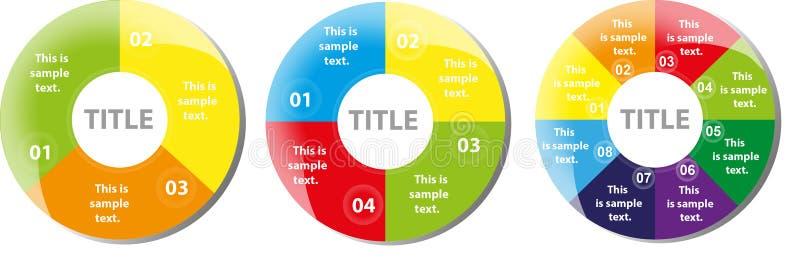 Trois diagrammes de tarte multi de couleur illustration libre de droits