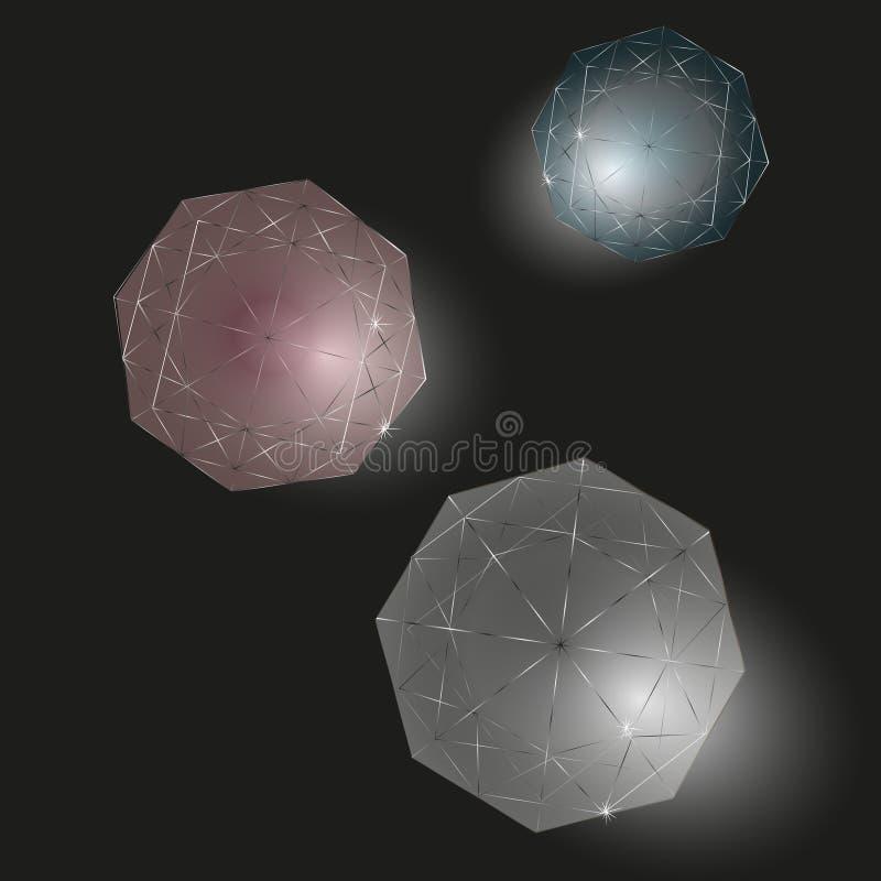 Trois diamants réglés illustration libre de droits