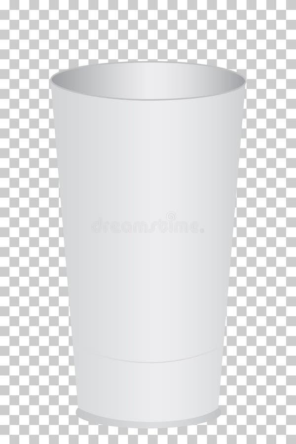 Trois dimension, verre en plastique blanc de plaine illustration de vecteur
