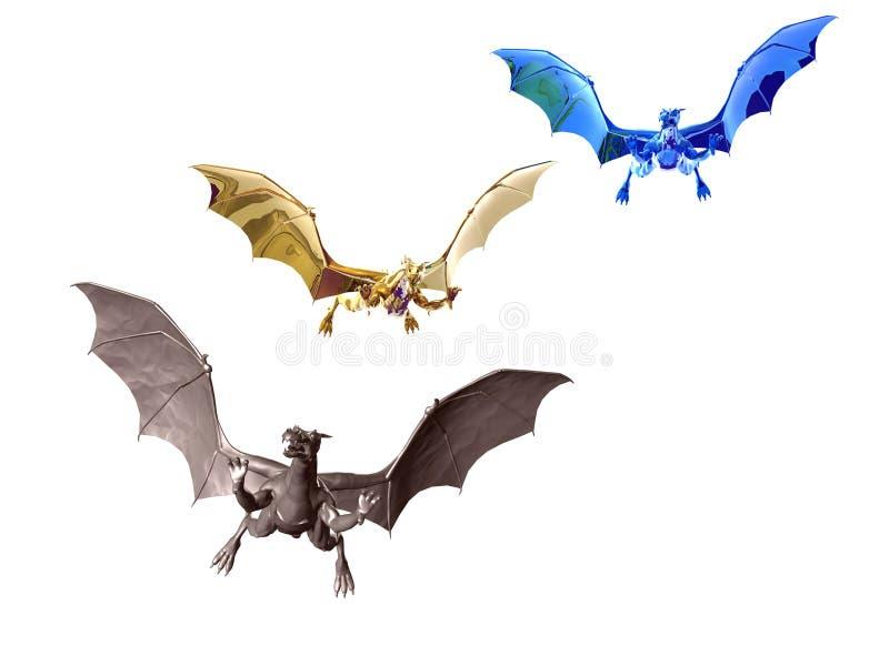 Trois dragons illustration libre de droits
