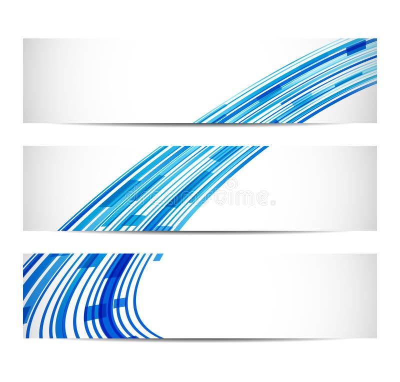 Trois drapeaux avec le fond abstrait illustration de vecteur