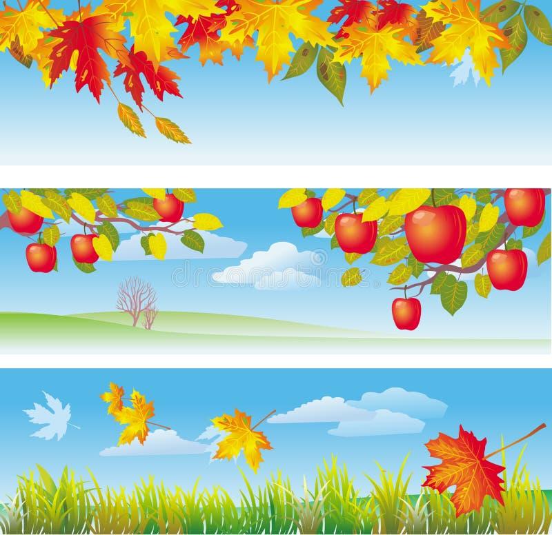 Trois drapeaux d'automne illustration stock