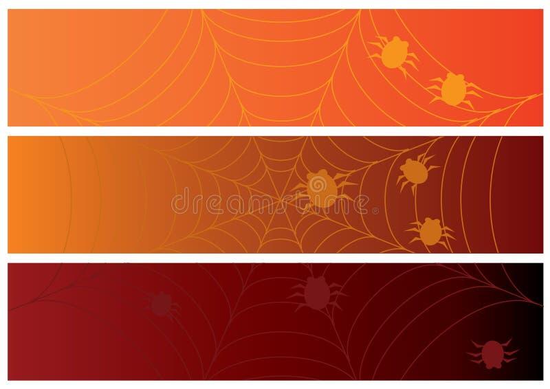 Trois drapeaux de veille de la toussaint avec le Web et les araignées illustration stock