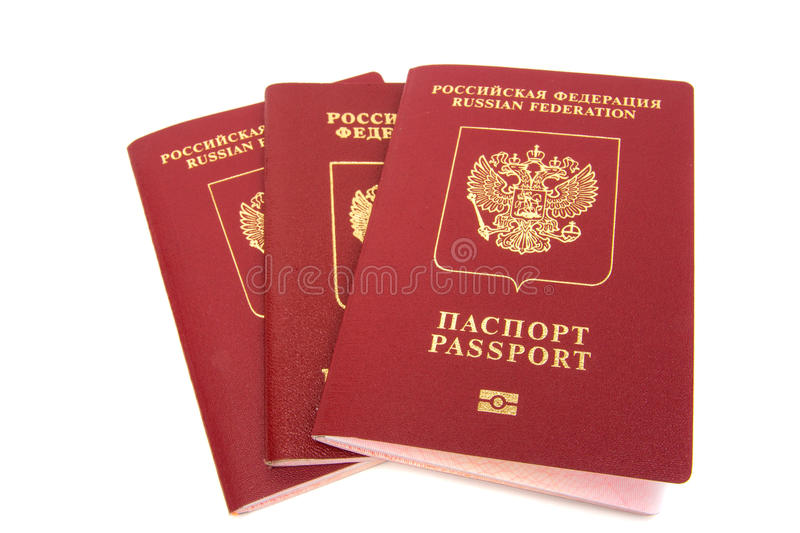Trois passeports russes photo stock