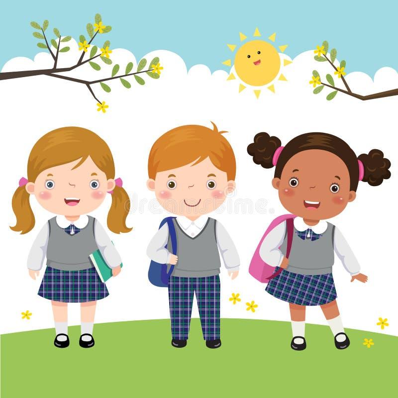 Trois enfants dans l'uniforme scolaire allant à l'école illustration de vecteur