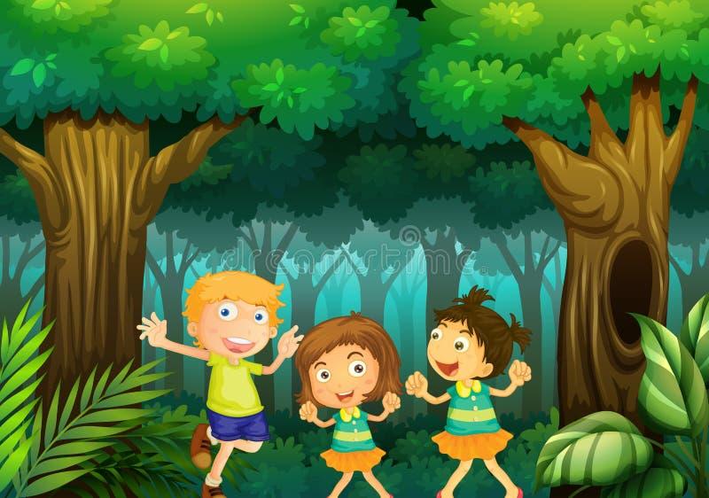 Trois enfants dansant dans la forêt illustration stock