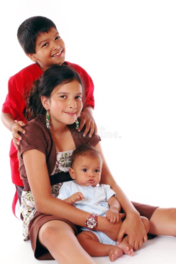 Trois enfants de mêmes parents Biracial. photographie stock libre de droits