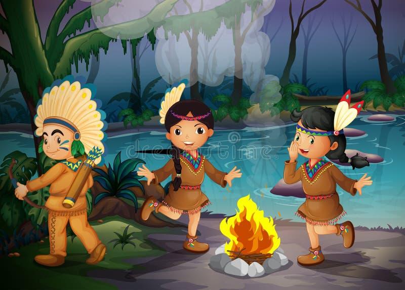 Trois enfants indiens à l'intérieur de la forêt illustration stock