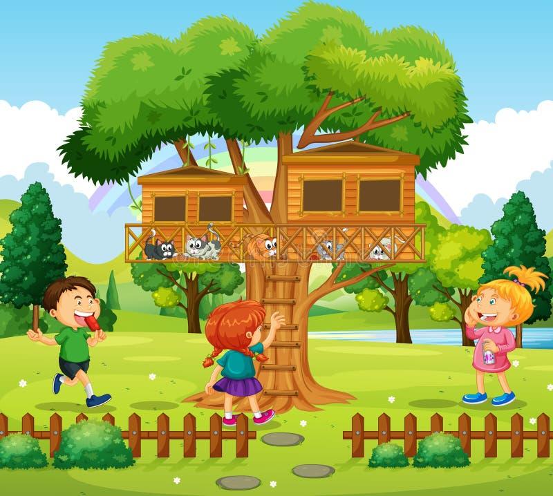 Trois Enfants Jouant à La Cabane Dans Un Arbre Illustration de Vecteur - Illustration du gosse ...
