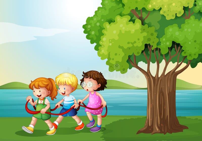 Trois enfants jouant avec la corde près de la rivière illustration de vecteur