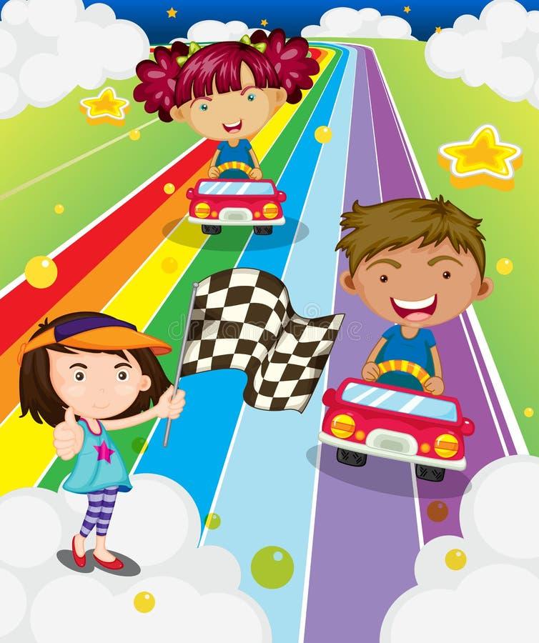 Trois enfants jouant des courses d'automobiles illustration libre de droits
