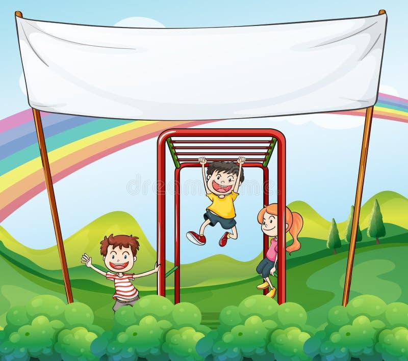 Trois enfants jouant près de la bannière vide illustration stock