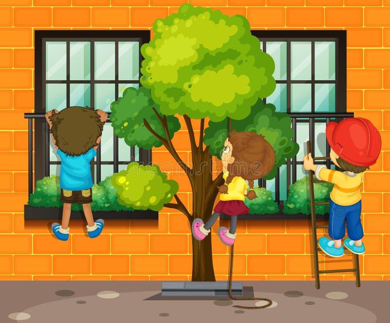 Trois enfants montant la fenêtre illustration libre de droits