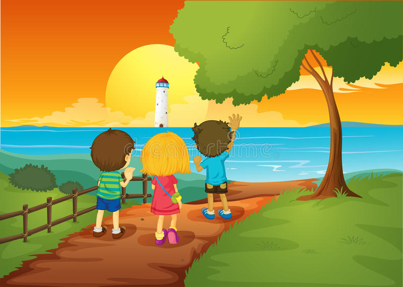 Trois enfants observant le phare illustration stock