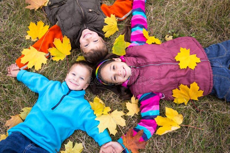 Trois enfants sur les feuilles jaunes photo stock