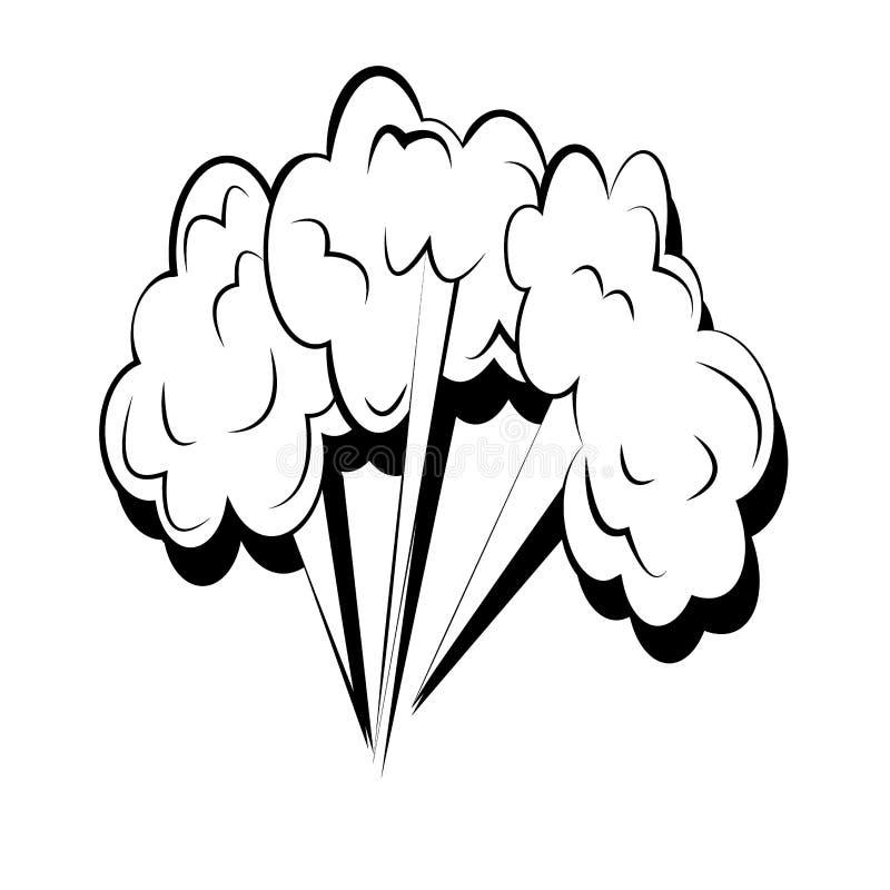 Trois explosions puissantes énormes avec des nuages de fumée Illustration comique de bande dessin?e Placez des explosions de brui illustration libre de droits